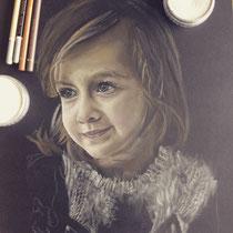 Portrait `Kind` Pastellkreide auf Papier - verfügbar