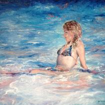 `Wasserportrait` Ölmalerei mit Fingern auf Leinwand 60x80cm - verfügbar