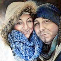 Paarportrait - Öl auf Leinwand 100x100 -Auftragsarbeit