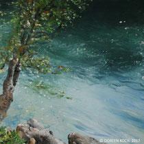 `Fluss` Ölmalerei mit Fingern auf Leinwand 40x40cm - verkauft