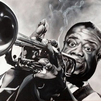 Portrait `Louis Armstrong` Öl auf Leinwand 100x120cm - verfügbar