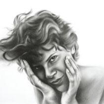 Portrait `Karin` Zeichnung dry brush 42x30cm (A3) - verfügbar