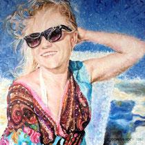 Portrait `Frau am Strand` Fingerpainting in Öl 80x80cm - verfügbar