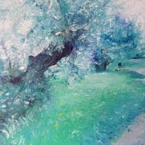 `Ostseebaum` Ölmalerei mit Fingern auf Leinwand 60x80cm - verfügbar