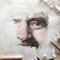 Portrait `Sifu` in Pastellkreide auf Papier - verkauft