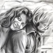 Portrait `Karin&Conrad` dry brush 42x30cm (A3) - verfügbar