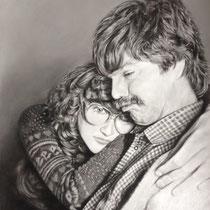 Paarportrait in Pastellkreide auf Papier A2Format- Auftragsarbeit