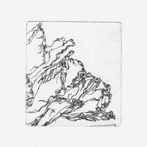Kleine Pfingstrose, 6,2 x 6,8 cm, Kaltnadelradierung