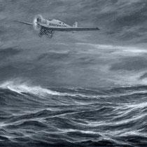 Gemälde über den Flug von Marinemaler Viktor Gernhard
