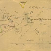 Karte des Ozeanfluges, die Hermann Köhl für seinen Vater Wilhelm Köhl, Generalleutnant a.D. und Excellenz, zeichnete