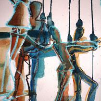 """""""An Fäden"""", 2010, 29,7 x 42cm, Aquarell Mischtechnik"""