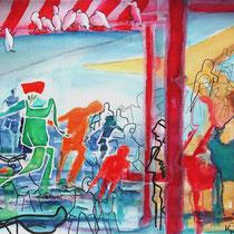 """""""die Badenden und andere Vögel"""", 2012, 50 x 65cm Aquarellmischtechnik, 3.Platz in der Sonderausstellung -Wasser- der 4. AURAKURE"""
