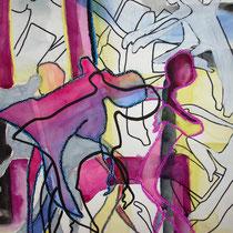 Die bunten Tänzer, 2011, 36 x 48cm, Aquarell Mischtechnik