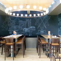 Restaurant Feldschlössli, Gestaltung der Wände, Entwurf und Ausführung, 2012