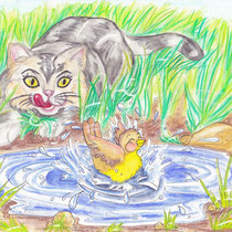 Gefahr beim Baden, children's book illustration