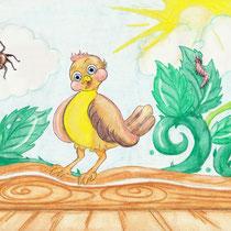Der kleine Spatz Fritz, Kinderbuchillustration