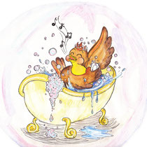 Spaß beim Vogelbad, Kinderbuchillustration, Kinderbuchillustrator, children's book illustration