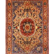 Reinseiden Teheran, ca. 200 x 125 cm, extrem feine Knüpfung ca. 1.1 Mill Knoten pro m2, um 1900, Naturfarben