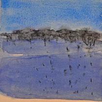 'Blauwduinen' /2013/ aquarelverf, pigment, houtskool op houtpaneel, 21,5x20 cm / Private collection in the Netherlands