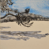 'Wandelineg in de duinen' #3 /2013/ aquarelverf, pigment, houtskool op houtpaneel, 20x21,5cm