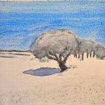'Wandelineg in de duinen' #4 /2013/ aquarelverf, pigment, houtskool op houtpaneel, 20x21,5cm