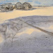 'Wandelineg in de duinen' #1 /2013/ aquarelverf, pigment, houtskool op houtpaneel, 20x21,5cm