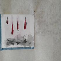 Elements. Garza di cotone, carte dipinte, spilli, pane, carbone, mandorle, noci. installazione (misuri ambentali). 2017