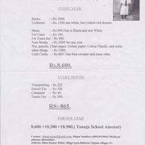 Plan financement frais de scolarité Tanuja