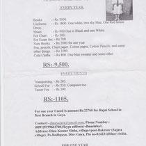 Plan financement frais de scolarité Rajni