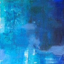 Blaue Welt 1  -  Öl, Pigmente auf Leinwand 120x110cm