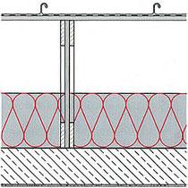 Aufblasdämmung auf Decke zwischen Brettlbinder