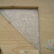Rohrkolbendämmstoff hinter Sichtfenster im Einblasmodell