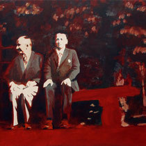 Rote Bank | 90 x  120 cm | Öl auf Nessel | 2017
