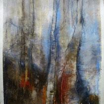 IM WALD      Ölstifte  auf Papier 40x30