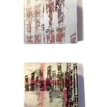 Senza titolo, 2008,  pittura su legno di recupero, due elementi da cm 10 x 10