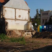 Blick Richtung Haus der Freundschaft, welches kürzlich abgerissen wurde