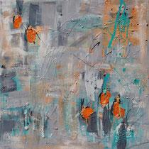 """""""Orange"""" - 80x80x3,5 cm - Malerei von Linda Ferrante"""