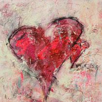 """""""Amore Amore"""" - 70x70x3,5 cm - Malerei von Linda Ferrante"""