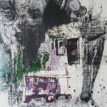 1980, GESICHTER, 40 x 47, Wachsfarbendruck