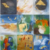 1999, KLEINE SCHOEPFUNG, 50x60, Enkaustik, Privatbesitz Bonn