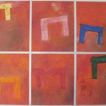 1992, BRUECKEN BAUEN, je 40 x 50, Enkaustik, Privatbesitz Hamburg