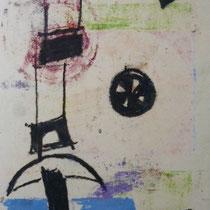 1969, o.T., 30 x 45, Wachsfarbendruck
