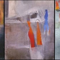 1990, ÜBERSPRUNGEN, 3-teilig je 50 x 60, Enkaustik Collage, Privatbesitz Hamburg