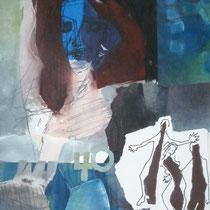 1993, ENDLICH 40, 70 x 100, Collage, Mischtechnik