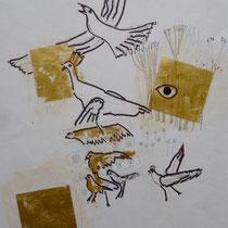 2002, AUSBLICK, 40 x 50, Filzstift mit Blattgold