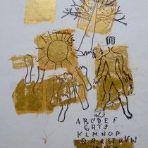 2002, o.T., 40 x 50, Filzstift mit Blattgold