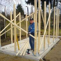 Das Holz-Gerippe mit max. 5 mm Bautoleranz