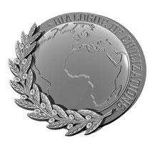 "Значок WPF ""Dialogue of Civilizations""  15х15 мм, белое золото"