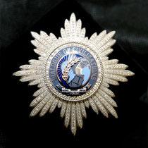 """Звезда лауреата премии WPF """"Dialogue of Civilizations""""; серебро, белое золото, бриллианты, цветная эмаль."""