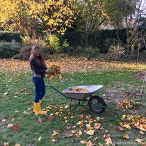 Activité familiale : ramasser les feuilles et les mettre dans les massifs - © Sandrine Tellier
